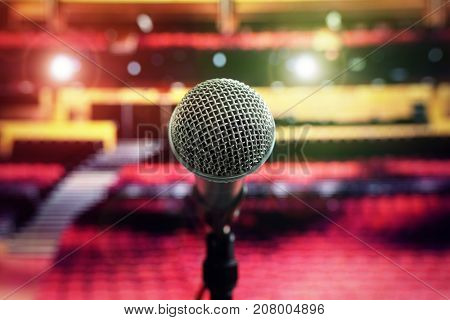 Microphone on stage in theater or concert hall