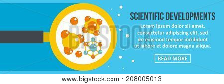 Scientific developments banner horizontal concept. Flat illustration of scientific developments banner horizontal vector concept for web design