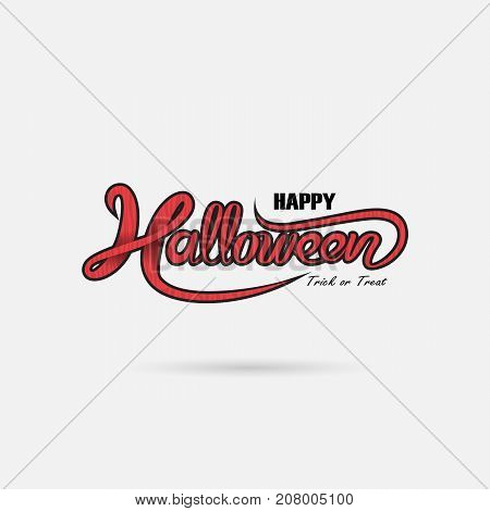 Halloween banner calligraphy.Halloween trick or treat party celebration.Halloween Background.Happy Halloween vector lettering.Holiday calligraphy for banner, poster, greeting card or party invitation.Vector illustration.