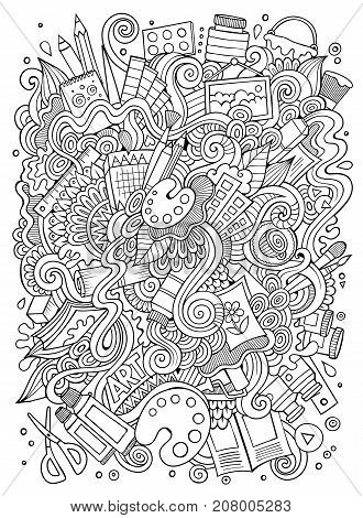 Cartoon cute doodles hand drawn Artistic illustration. Line art detailed, with lots of objects background. Funny vector artwork