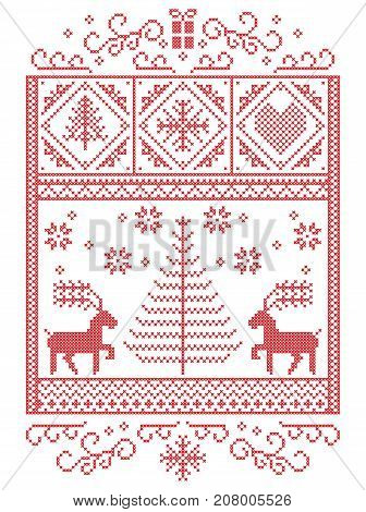 Elegant Christmas Scandinavian, Nordic style winter stitching, pattern including snowflakes, hearts,present, star, Christmas tree, reindeer and decorative ornaments in red, white in rectangle frame