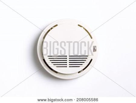 Round Fire Alarm Smoke Alarm isolated on white