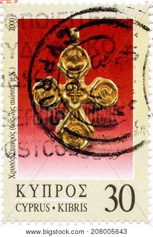 Ukraine - circa 2017: A postage stamp printed in Cyprys shows Jewelry - Golden Cross 6th-7th cent. A.D. series Definitive Issues - Cyprus 2000-2019 circa 2000