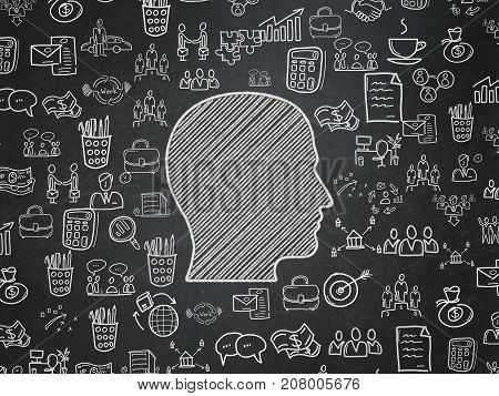 Business concept: Chalk White Head icon on School board background with  Hand Drawn Business Icons, School Board