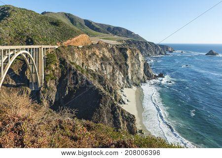 Coast of California Big Sur. Along the route number 1. Bixby Creek Bridge