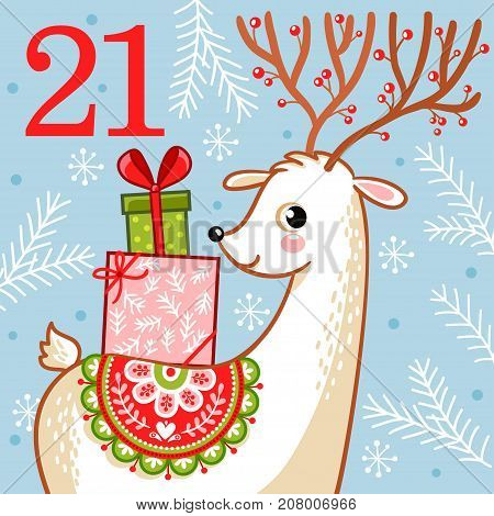 Vector christmas advent calendar in childrens style. Cute deer with Christmas gifts on his back. Illustration with an animal.