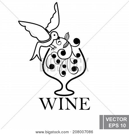 Logo. Wine Shop. Grapes. Bird. The Black. Wineglass. For Your Design