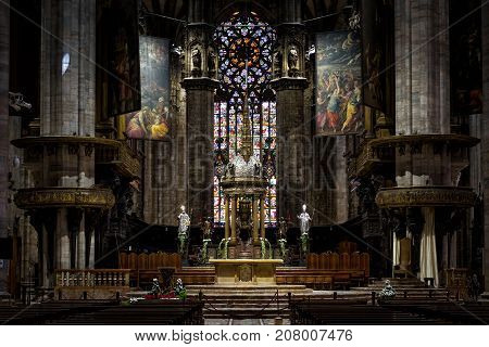 Milan, Italy - May 16, 2017: Altar of the Milan Cathedral (Duomo di Milano). Milan Duomo is the largest church in Italy and the fifth largest in the world.