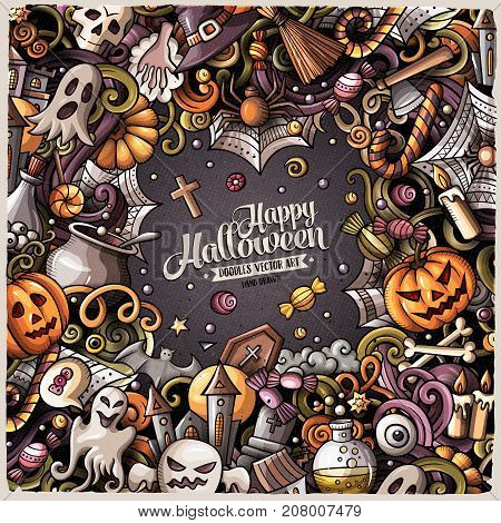 Cartoon cute doodles hand drawn Happy Halloween frame design illustration. Colorful detailed, with lots of objects background. All items are separate.. Funny vector border