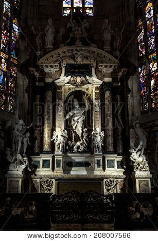 Milan, Italy - May 16, 2017: Altar of Saint John the Good in the Milan Cathedral (Duomo di Milano). Milan Duomo is the largest church in Italy and the fifth largest in the world.