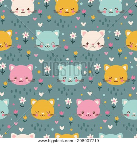 Vector seamless pattern with cute kittens. Illustration in the childrens style
