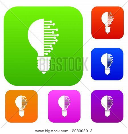 Lightbulb with microcircuit set icon color in flat style isolated on white. Collection sings vector illustration