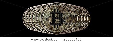 Bitcoin Banner Header. Gold Coin. Cryptocurrency With Space For Your Own Text