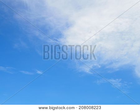 Beautiful unique Blue sky with tiny cloud for background.