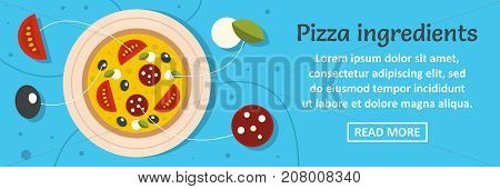 Pizza ingredients banner horizontal concept. Flat illustration of pizza ingredients banner horizontal vector concept for web design