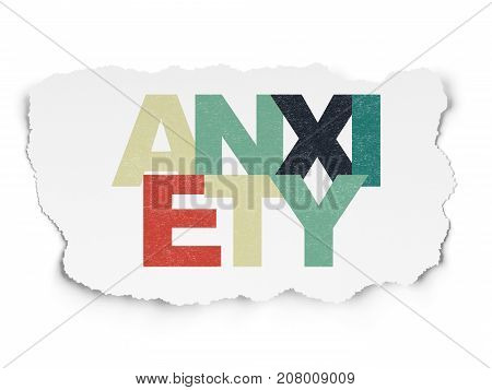 Healthcare concept: Painted multicolor text Anxiety on Torn Paper background