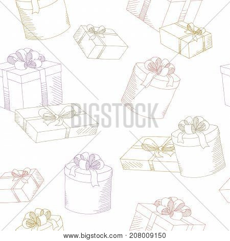 Present box graphic color seamless pattern illustration vector