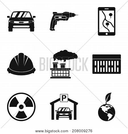 Manufacture of component icons set. Simple set of 9 manufacture of component vector icons for web isolated on white background