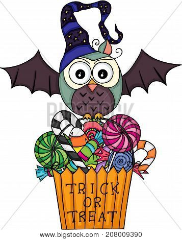 Scalable vectorial image representing a Halloween owl with  trick or treat bag filled with candies, isolated on white.