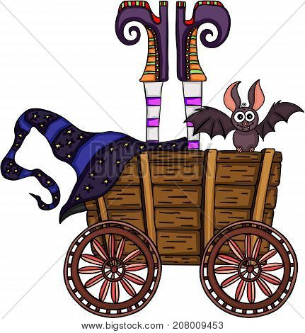 Scalable vectorial image representing a witch upside down in a wooden trolley, isolated on white.