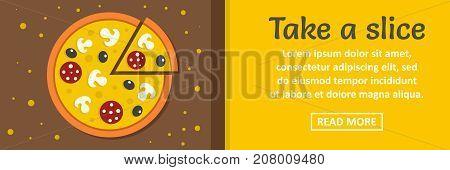 Take a pizza slice banner horizontal concept. Flat illustration of take a pizza slice banner horizontal vector concept for web design