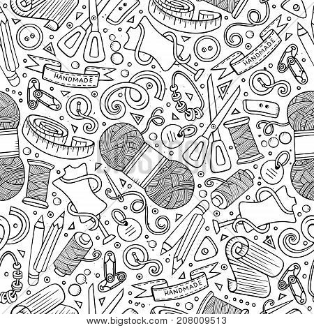 Cartoon cute hand drawn Handmade seamless pattern. Line art detailed, with lots of objects background. Endless funny vector illustration