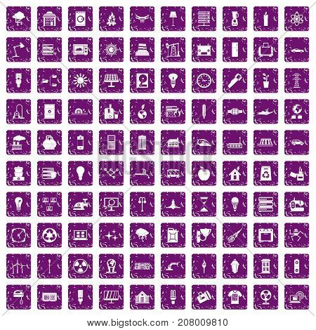 100 electricity icons set in grunge style purple color isolated on white background vector illustration