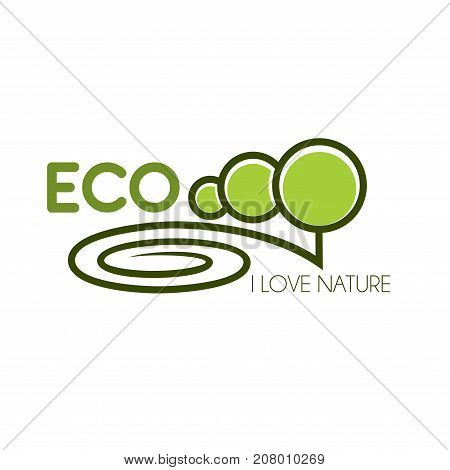 Eco nature green tree icon for ecology and green environment association or company design template. Vector isolated eco garden and nature landscape of parkland square, forest tree or garden