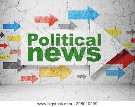 News concept:  arrow with Political News on grunge textured concrete wall background, 3D rendering