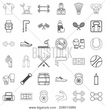 Diet icons set. Outline style of 36 diet vector icons for web isolated on white background