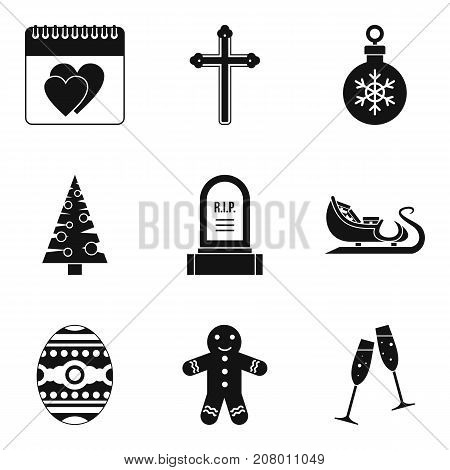 Christmas parties icons set. Simple set of 9 christmas parties vector icons for web isolated on white background