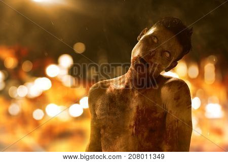 Undead scary zombie walking on bokeh background