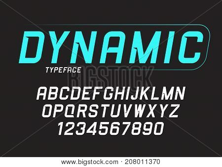 Vector dynamic bold italic font design alphabet typeface typography