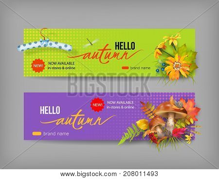 Vector fall banner for web or print. Header with autumn composition. Advertising banner of New Collection