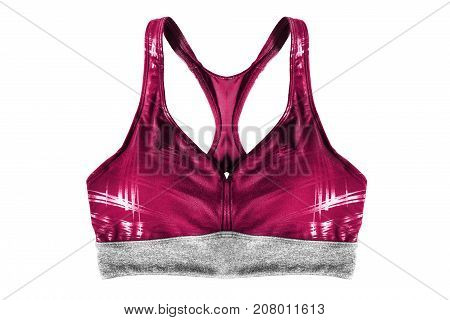 Pink sport bra isolated over white background