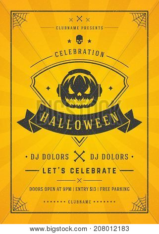 Halloween celebration night party poster or flyer design retro typography vector template. Yellow textured background.