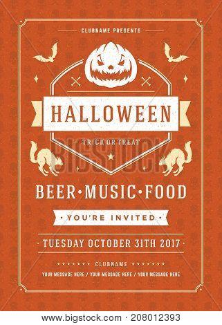 Halloween celebration night party poster or flyer design retro typography vector template. Red textured background.