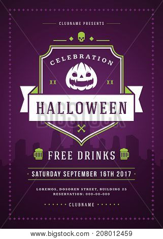 Halloween celebration night party poster or flyer design retro typography vector template.