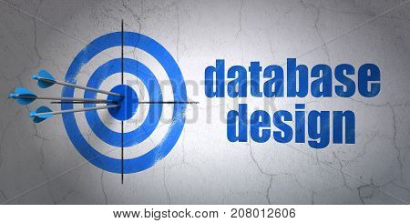 Success Software concept: arrows hitting the center of target, Blue Database Design on wall background, 3D rendering
