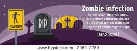 Zombie infection banner horizontal concept. Flat illustration of zombie infection banner horizontal vector concept for web design