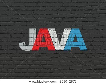 Programming concept: Painted multicolor text Java on Black Brick wall background