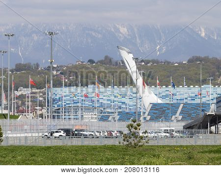 Sochi - March 3 2017: View of the beautiful cup of the Olympic torch in the Olympic Park March 3 2017 Sochi Russia