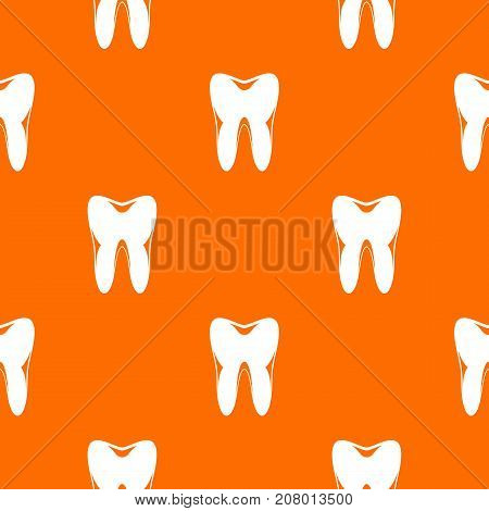 Human tooth pattern repeat seamless in orange color for any design. Vector geometric illustration