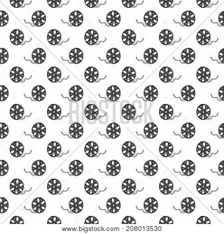 Cinema tape and film reel vintage seamless pattern handdrawn sketch retro movie and film industry vector illustration.