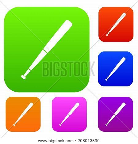 Black baseball bat set icon color in flat style isolated on white. Collection sings vector illustration