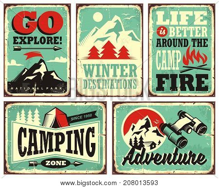 Retro collection of winter vacation signs and posters. Outdoor activities promotional set of posters. Winter holiday, camping, adventures, mountains, hiking, exploring.