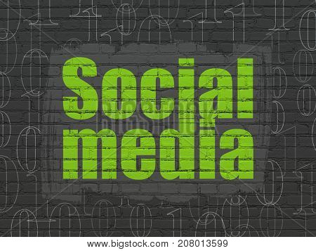 Social media concept: Painted green text Social Media on Black Brick wall background with  Binary Code