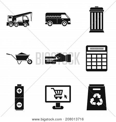 Household thing icons set. Simple set of 9 household thing vector icons for web isolated on white background