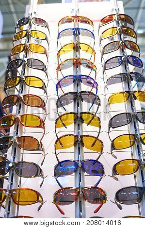 Sports glasses for cycling in storefront of shop