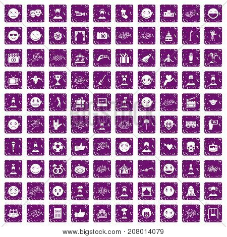 100 emotion icons set in grunge style purple color isolated on white background vector illustration